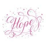 Calligrafia del testo di speranza con il vettore degli elementi della decorazione Fotografia Stock
