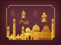 Calligrafia della carta di Ramadan Kareem Greeting con la lanterna e la moschea tradizionali Fotografie Stock Libere da Diritti