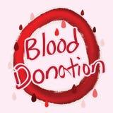 Calligrafia di donazione di sangue Immagini Stock Libere da Diritti