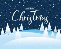 Calligrafia di Natale con l'albero ed i fiocchi di neve Fotografia Stock