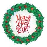 Calligrafia Holly Wreath Card del buon anno Illustrazione di vettore Modello della cartolina d'auguri Fotografia Stock