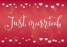Calligrafia moderna del sposato di appena nel bianco su fondo rosa decorato con i cuori bianchi Fotografia Stock