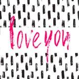 Calligrafia moderna della spazzola disegnata a mano Progettazione di Valentine Card Fotografie Stock Libere da Diritti