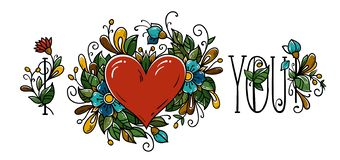 Calligrafia ti amo per il giorno di biglietti di S. Valentino illustrazione vettoriale