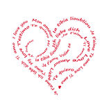 Calligram I love you written in alll languages, on white Royalty Free Stock Photo