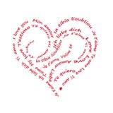 Calligram je t'aime écrit en langues d'alll, sur le blanc Photo libre de droits