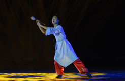 Calligrapher-Classical folk dance. December 3, 2015,The first colleges and universities' dancing competition of Jiangxi Province, sponsored by Jiangxi dancers stock image