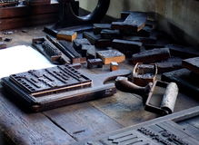 Calligraphers workshop. In middle ages in Aarhus old town, Den Gamle By, Denmark stock photo