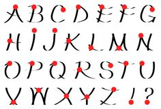 Calligraphic alfabet Arkivfoto