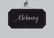 Calligraphic alkemiaffisch stock illustrationer