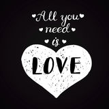 Calligraphic All You Need is Love inscription, Monochrome handwritten lettering Stock Images