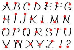 Calligraphic alphabet. Set of calligraphic letters. Japanese style Stock Photo