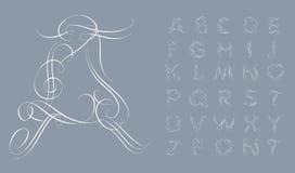 Calligraphic alphabet. Design elements Royalty Free Stock Image