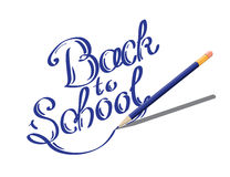 Calligraphic Back to school illustration with set of stationery and computer tablet on a exercise book sheet Stock Image