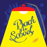 Calligraphic Back to school illustration under bright light from table lamp Royalty Free Stock Images