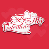 Calligraphic be my valentine headline stylish text Royalty Free Stock Images