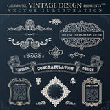 Calligraphic black elements vintage Congratulation and page deco Royalty Free Stock Images