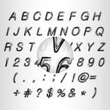 Calligraphic black grunge alphabet vector Stock Photos