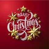 Calligraphic bokstäver för ` för glad jul för ` dekorerade med guld- stjärnor stock illustrationer