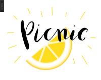 Calligraphic bokstäver för picknick och en skiva av citronen royaltyfri illustrationer