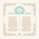 Calligraphic border frame. Design template for wedding greeting card, invitation, menu Stock Image