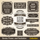 Calligraphic Border Frame and Invitation Stock Photography