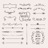Calligraphic borders collection Stock Image