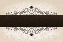 Calligraphic brown banner background. Vintage Royalty Free Stock Images