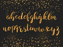Calligraphic brushpen font with sparkles Stock Photos