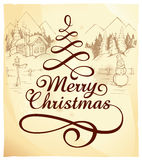 Calligraphic Christmas lettering Stock Image