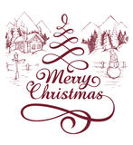 Calligraphic Christmas lettering Stock Images