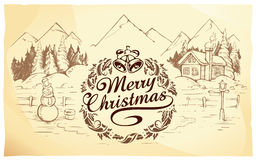 Calligraphic Christmas lettering Royalty Free Stock Images