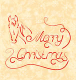 Calligraphic Christmas lettering with horse Stock Photography