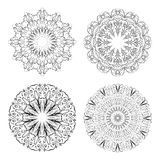 Calligraphic circle lace patterns in monochrome design. Embroidery template. Delicate filigree geometric patterns. Vector illustration Stock Photos