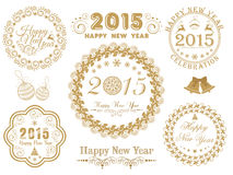 Calligraphic collection for Happy New Year and Merry Christmas c. Beautiful floral decorated frames with stylish typographic collection for Merry Christmas and Stock Photos