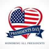 Presidents day USA heart emblem flag colored. Calligraphic composition of Happy Presidents Day with heart and text on ribbon. Vector illustration stock illustration