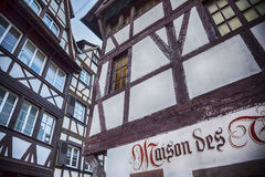 Calligraphic decoration on building exteriors in Strasbourg, Fra Stock Photo