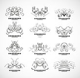 Calligraphic decoration elements for headline. Vector set of calligraphic design elements, headline decorations, floral ornaments in grungy style Stock Photography
