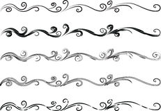 Calligraphic decorative elements with lines Royalty Free Stock Images