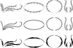 Calligraphic decorative elements with lines Stock Photos