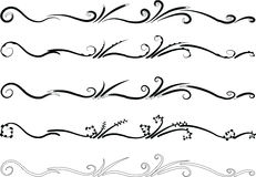 Calligraphic decorative elements with lines Royalty Free Stock Image