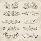 Calligraphic decorative elements. Set of design elements. Stock Photo