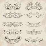 Calligraphic decorative elements. Set of design elements. Stock Photo