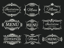 Calligraphic decorative vector frames for menu and wedding invitation Royalty Free Stock Images