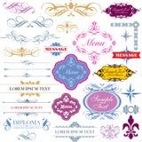 Calligraphic dekorativ designelementset Arkivfoto