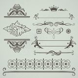 calligraphic dekorativ elementset Arkivbilder