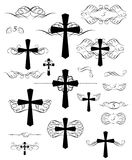 Calligraphic design with christian crosses and page rulers Royalty Free Stock Photos