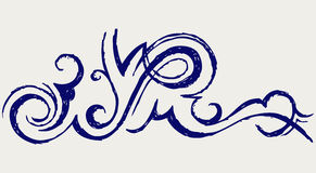 Calligraphic design element. Doodle style Stock Image