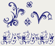Calligraphic design element. Doodle style Stock Photography