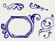 Calligraphic design element. Doodle style Stock Photos